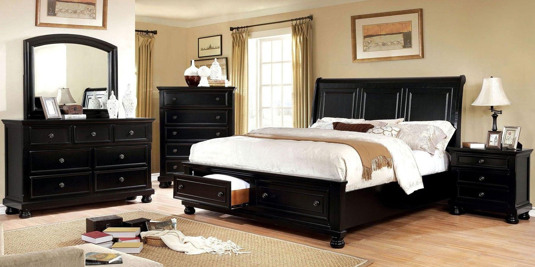 Castor Storage Bedroom Set (Black) by Furniture of America ...