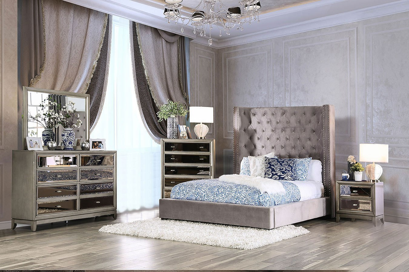 Mirabelle Upholstered Bedroom Set (Gray) By Furniture Of