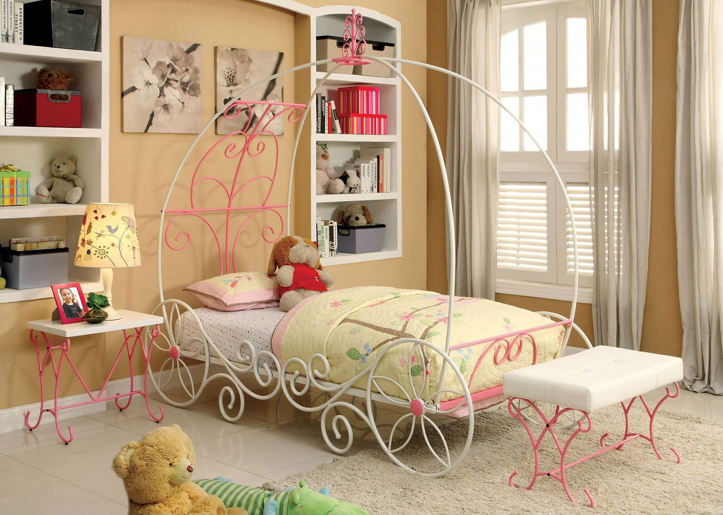 Enchant Youth Canopy Bedroom Set (Pink And White)