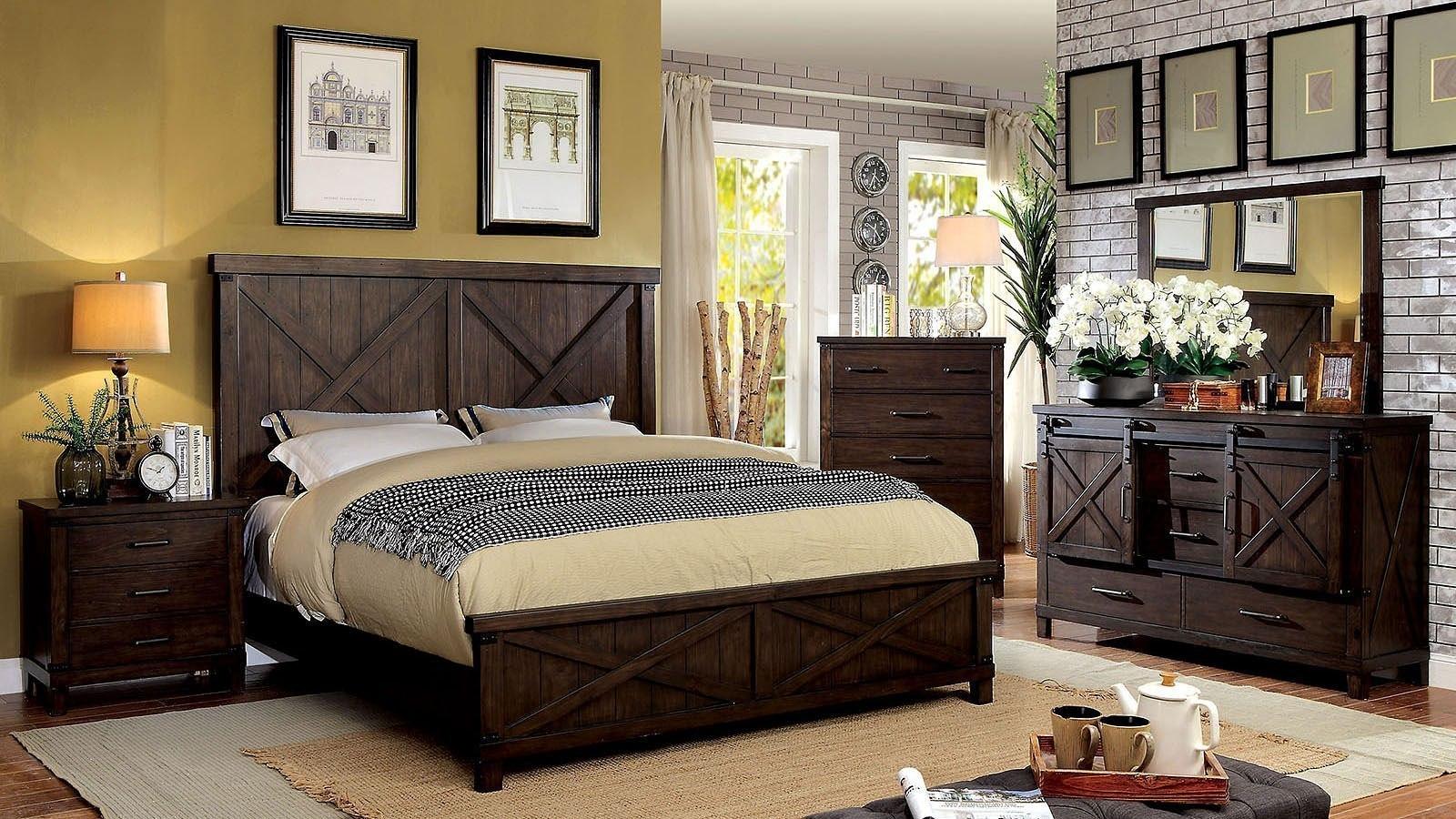 Bianca Panel Bedroom Set (Dark Walnut) by Furniture of America ...