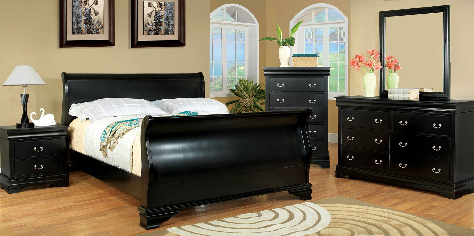 Laurelle Sleigh Bedroom Set (Black)