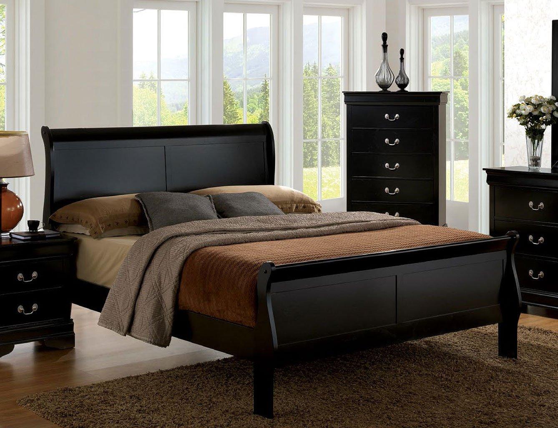 Louis Philippe Iii Sleigh Bed Black Beds Bedroom Furniture Bedroom