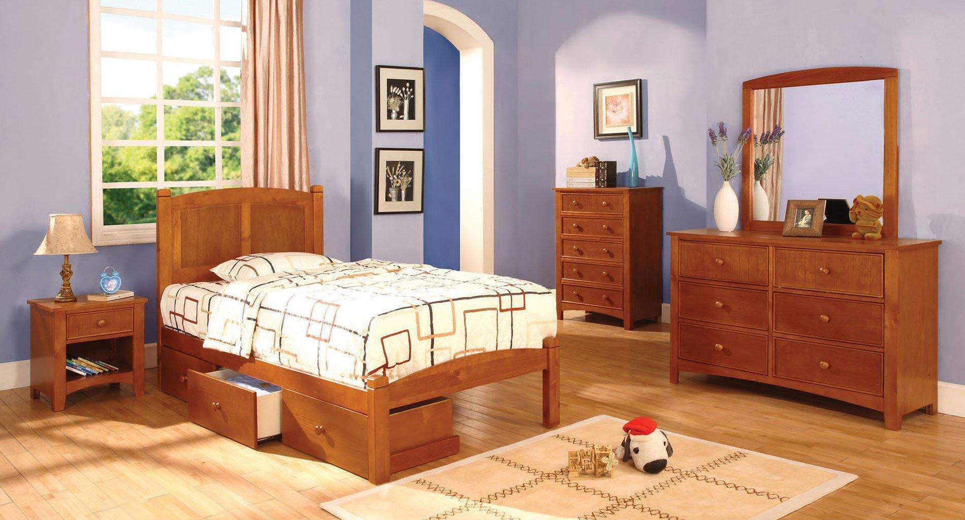 Omnus Youth Bedroom Set W Cara Bed Oak
