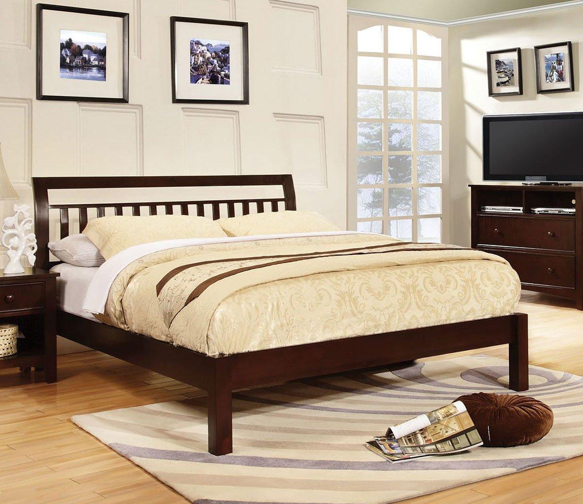 Corry platform bed dark walnut beds bedroom for Furniture n more beds