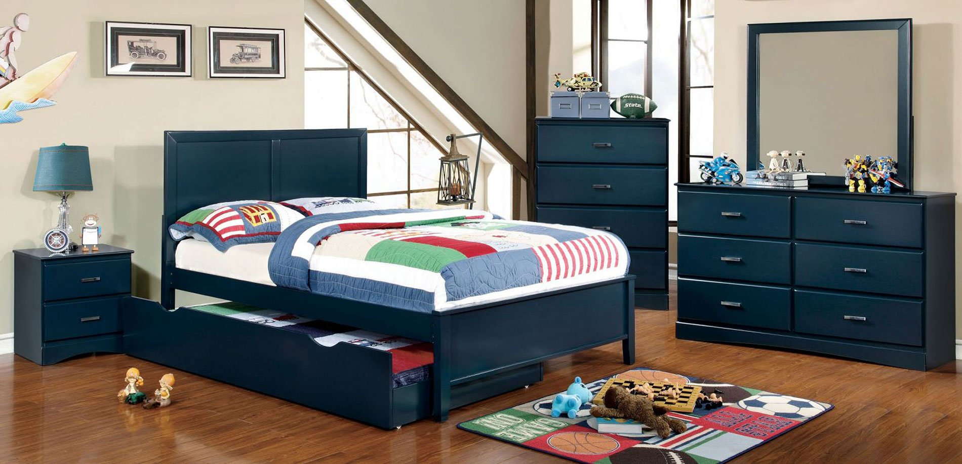 Prismo Youth Platform Bedroom Set (Blue)