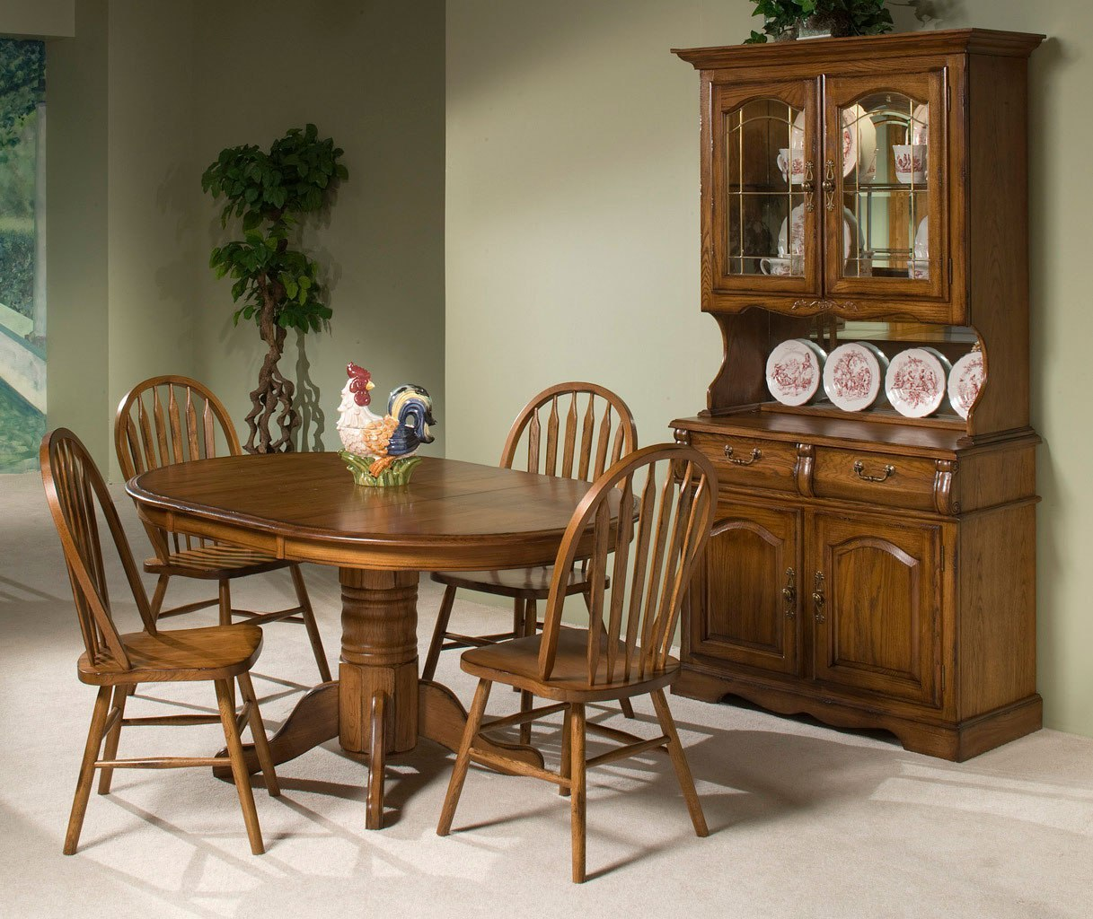 Classic Oak Round Dining Room Set (Burnished Rustic) by ...