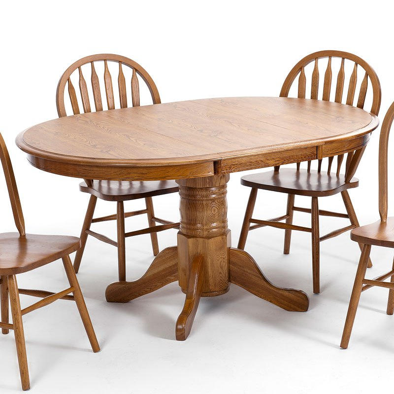 Clic Oak Round Dining Table Chestnut