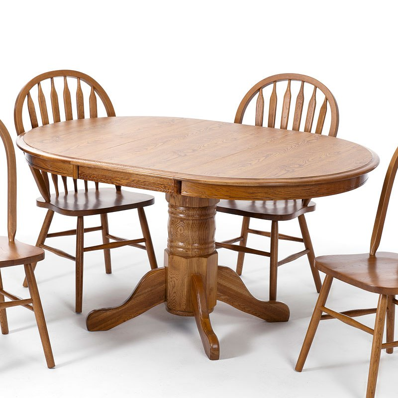 Classic Oak Laminate Round Dining Table (Chestnut)