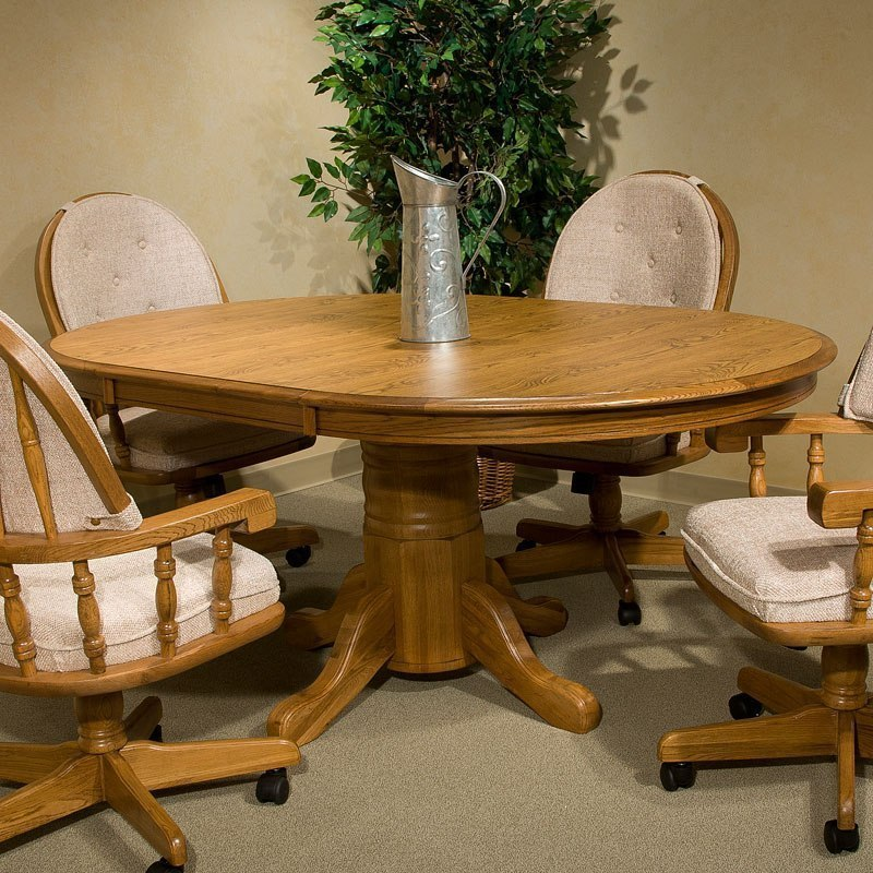 Classic Oak Laminate Butterfly Leaf Dining Table (Chestnut