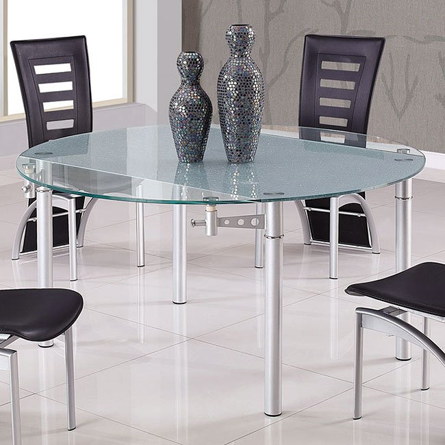 d135 frosted clear glass dining table by global furniture furniturepick. Black Bedroom Furniture Sets. Home Design Ideas