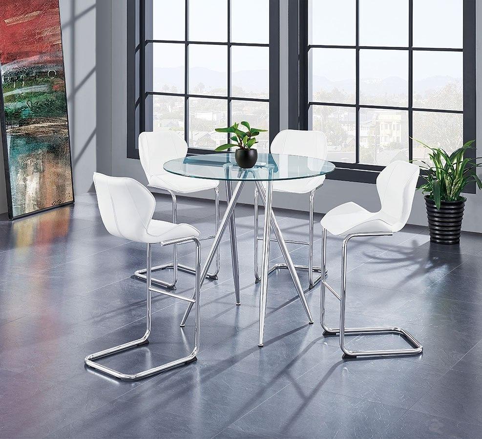 Superbe D1503 Bar Table Set W/ White Barstools By Global Furniture   FurniturePick