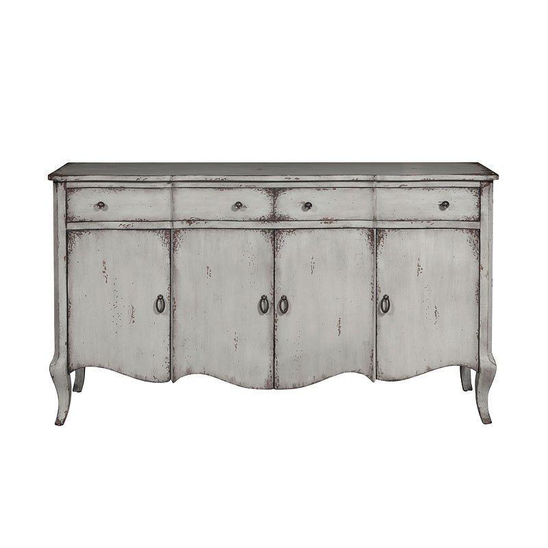Grey Distressed Two Drawer Four Door Credenza By Pulaski