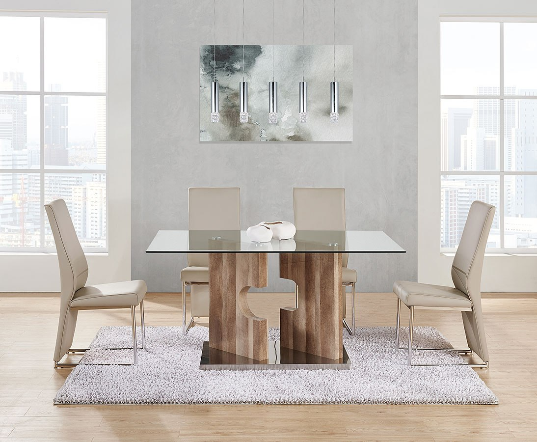 D219 Dining Room Set W Champagne Chairs By Global Furniture Furniturepick