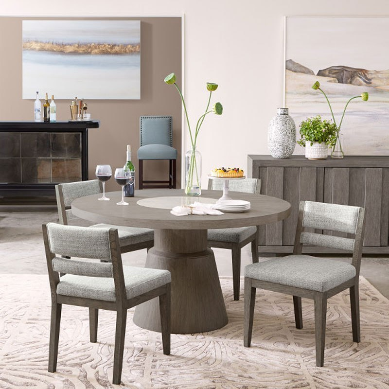 Contemporary Round Dining Room Sets: Tru Modern Round Marble Insert Dining Room Set By