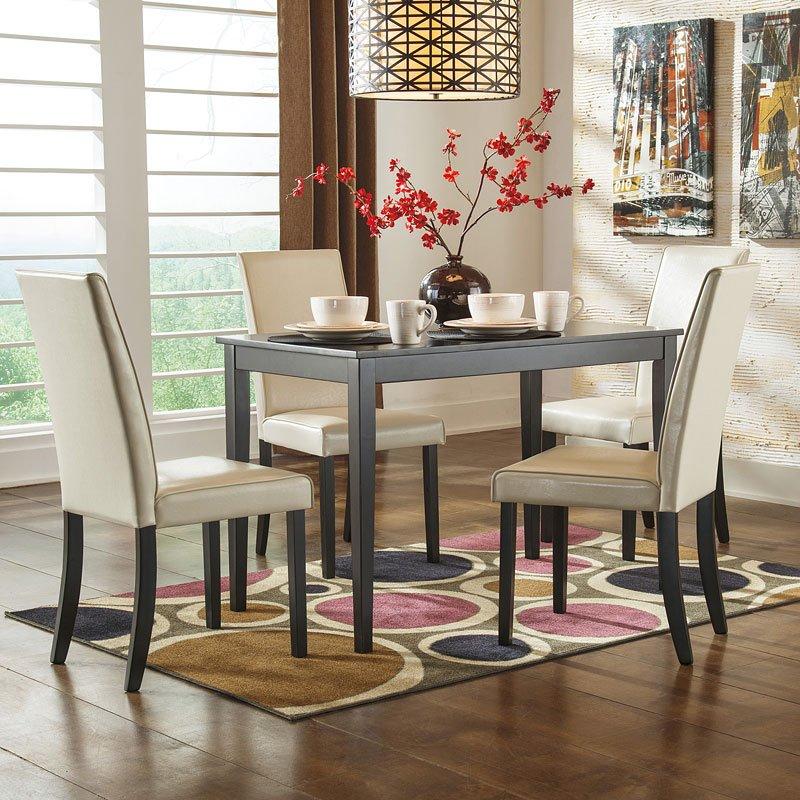 Beau Kimonte Dining Room Set W/ Ivory Chairs