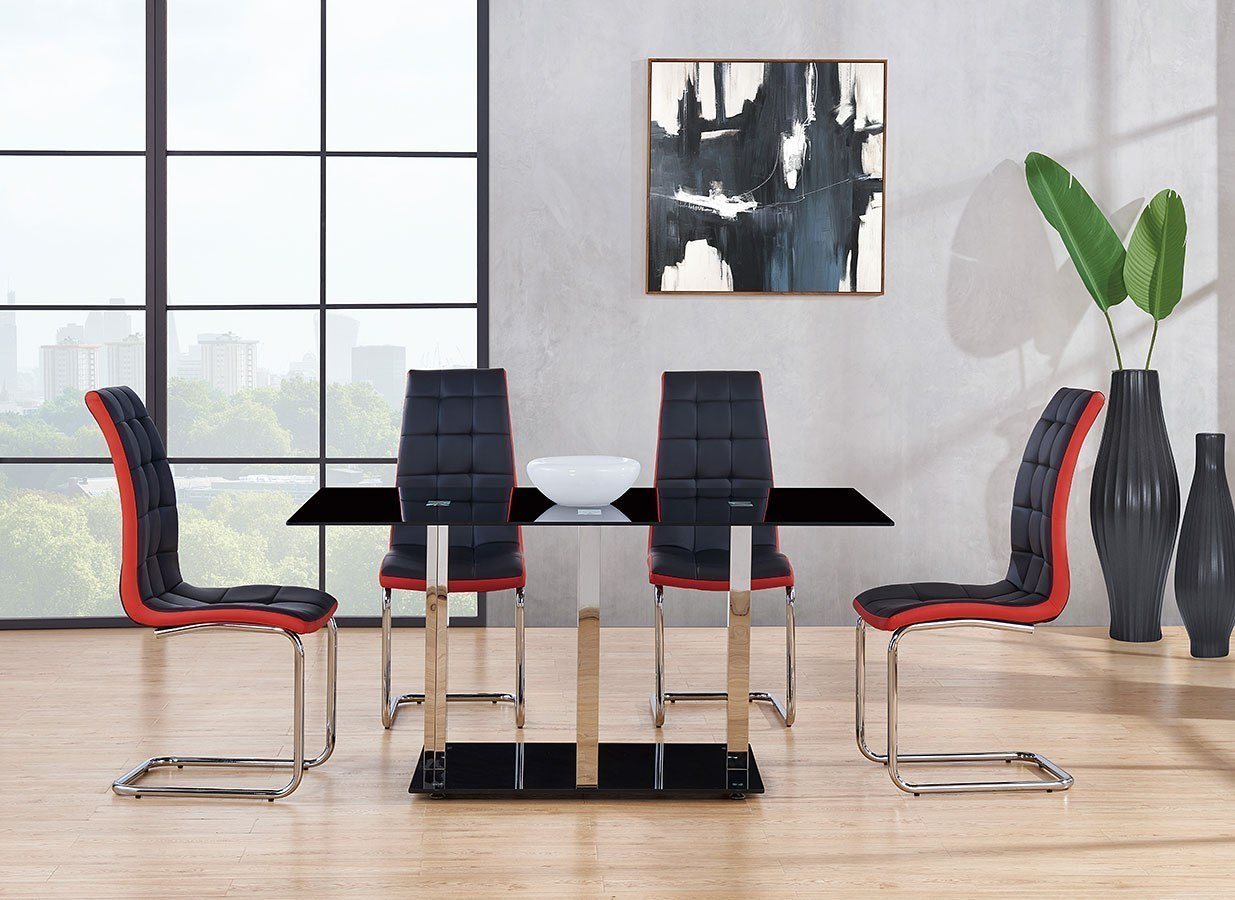 D252 Dining Room Set W/ Black And Red Chairs