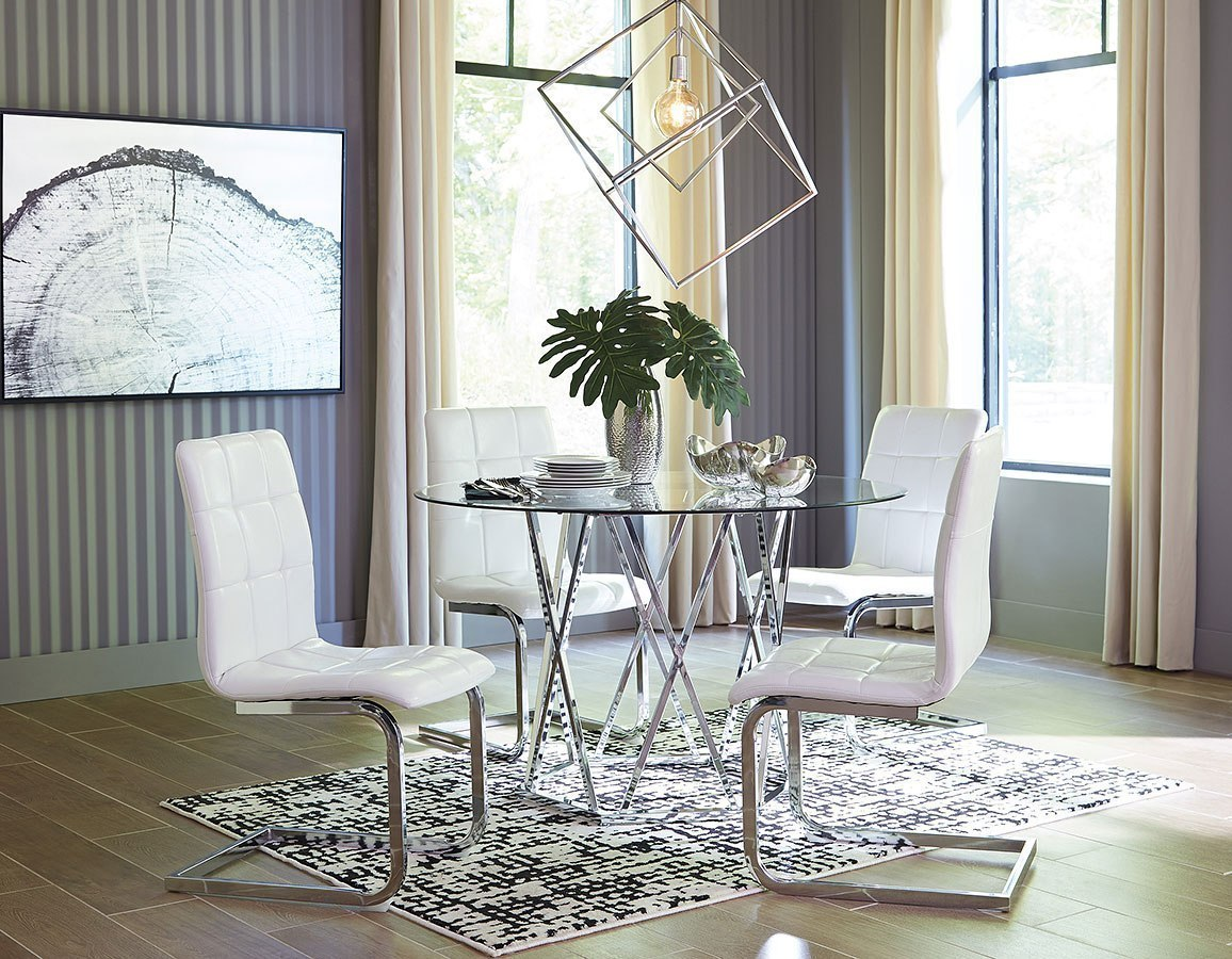 Madanere Dining Room Set W White Chairs By Signature