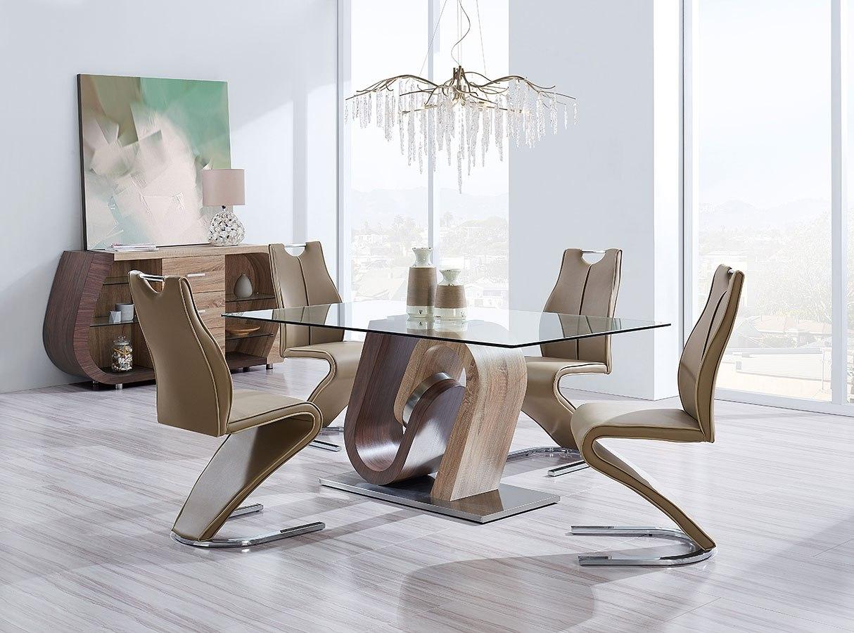 D4126 Dining Room Set Oak And Walnut By Global Furniture Furniturepick