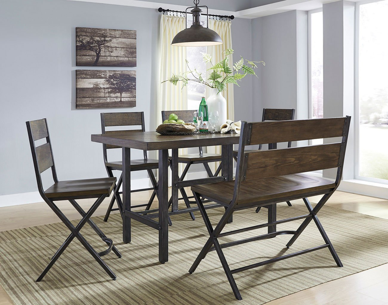 Kavara counter height dining room set w bench