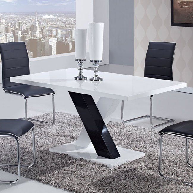 D490 White And Black Dining Table By Global Furniture