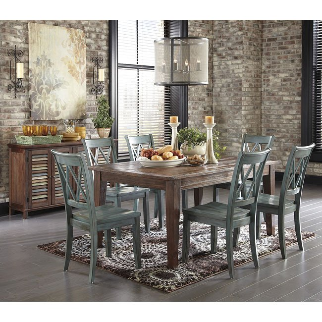 Mestler Antique Blue/ Brown Pine Dining Set
