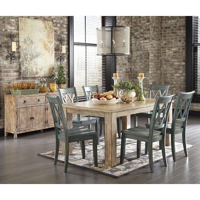 Mestler Antique Blue/ Weathered Pine Dining Set - Mestler Antique Blue/ Weathered Pine Dining Set Signature Design By