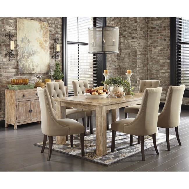 Charmant Mestler Weathered Pine Dining Set W/ Upholstered Chairs