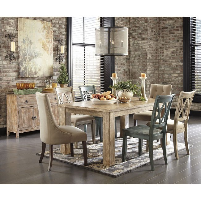 Mestler Customizable Dining Set W Weathered Pine Table By