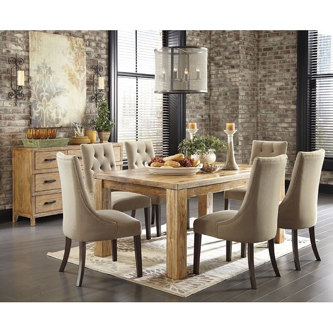Pine Dining Room Furniture: Mestler Honey Pine Dining Set W/ Upholstered Chairs By