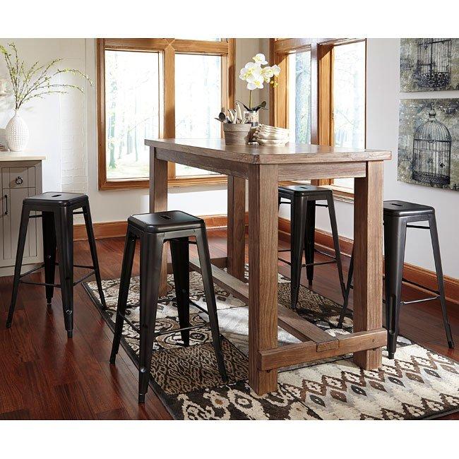 Pinnadel Bar Table Set W Metal Stools Bistro And Bar