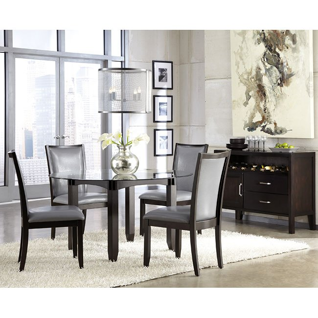 Trishelle Dining Room Set w/ Grey Chairs Signature Design ...