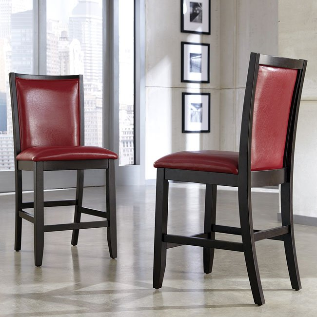 Trishelle Counter Height Dining Set w/ Red Chairs ...