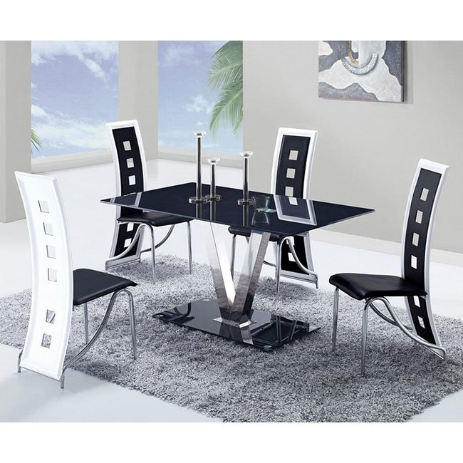 b761c61f695a D551 Dining Room Set w  Black and White Trim Chairs by Global Furniture