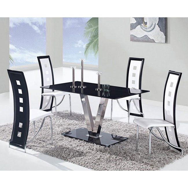 D551 Dining Room Set W/ White And Black Trim Chairs By
