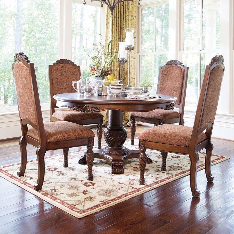 North Shore Dining Room Set: North Shore Round Dining Room Set W/ Upholstered Chairs By