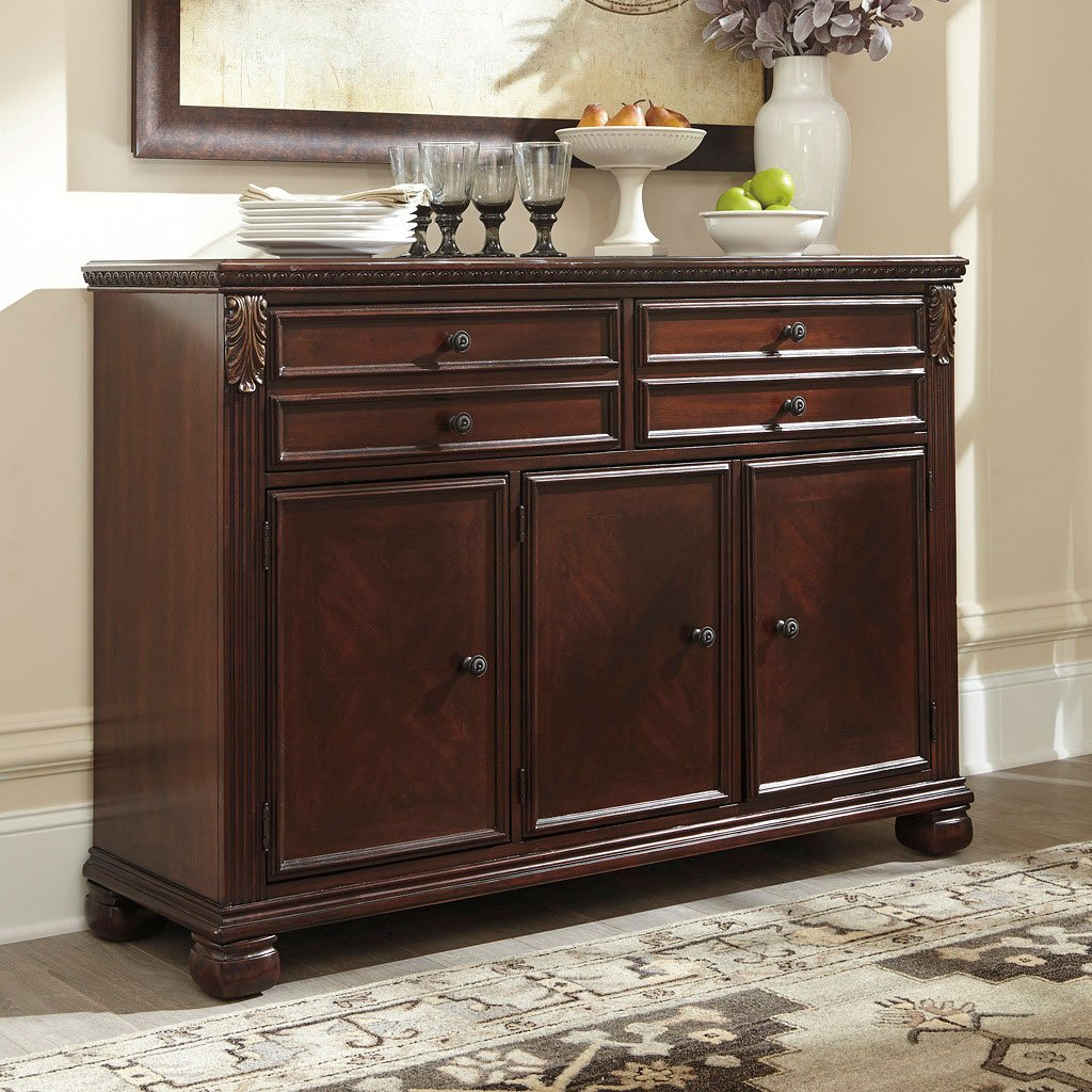 kitchen servers furniture leahlyn reddish brown buffet buffets sideboards and 13775