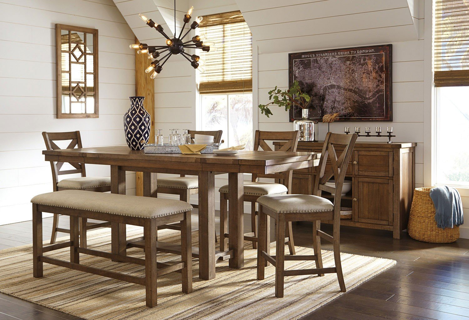 Miraculous Moriville Counter Height Dining Set W Bench Ncnpc Chair Design For Home Ncnpcorg