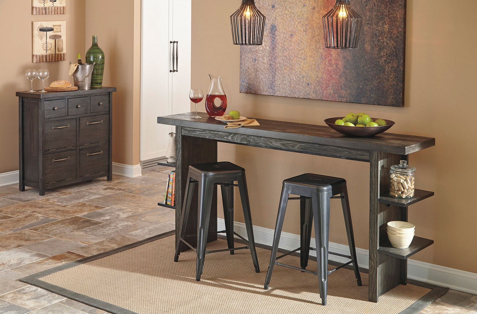 Lamoille Counter Height Dinette W/ Pinnadel Stools By