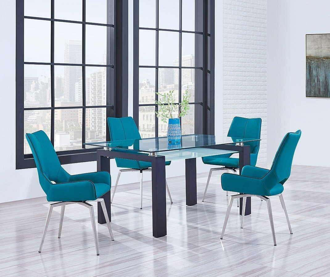 D646 Dining Room Set W/ Turquoise Swivel Chairs By Global