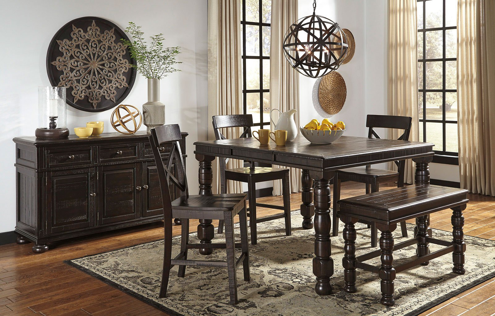gerlane counter height dining set w bench by signature design by ashley 1 reviews furniturepick. Black Bedroom Furniture Sets. Home Design Ideas