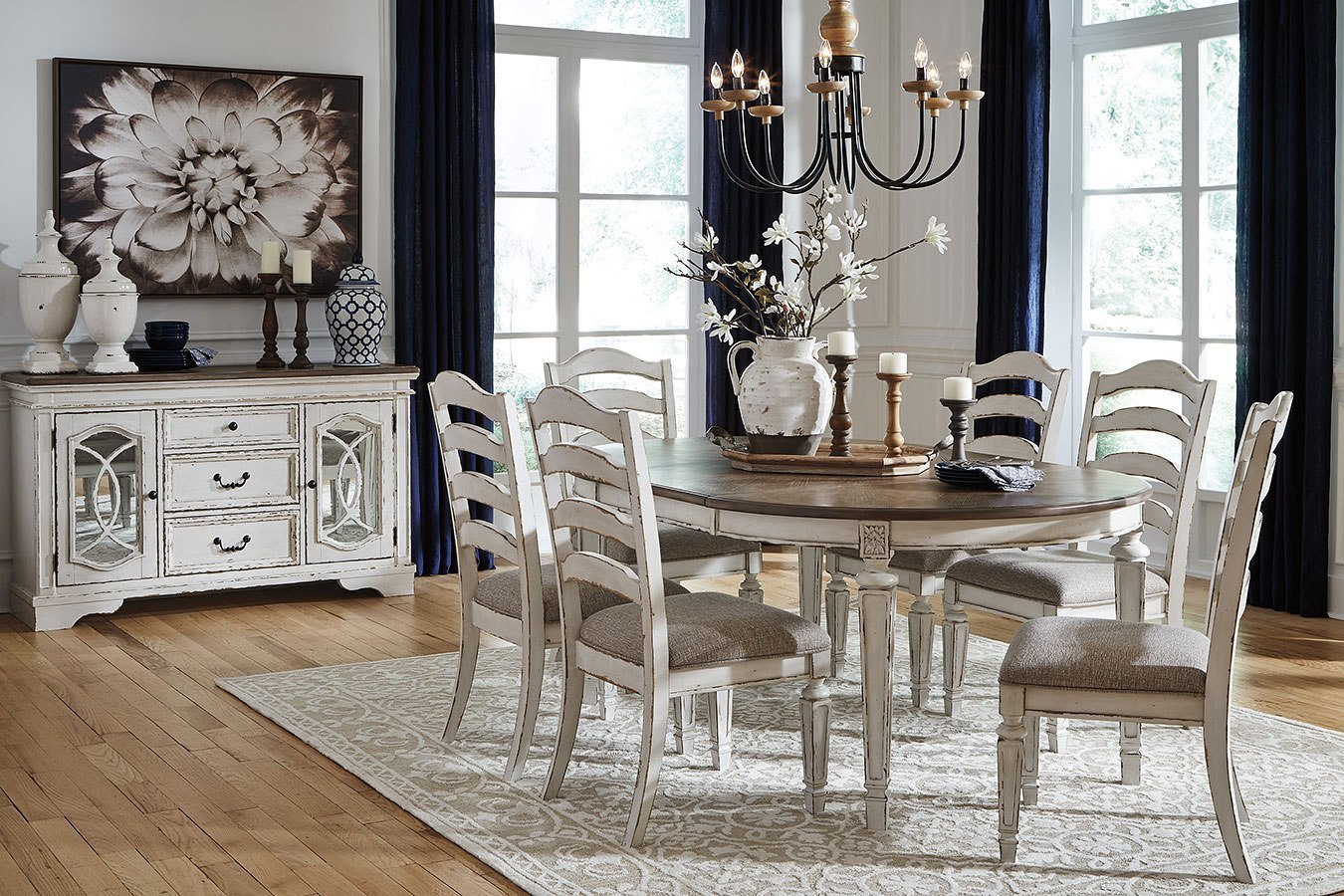 Realyn Oval Dining Room Set w/ Ladderback Chairs by ...