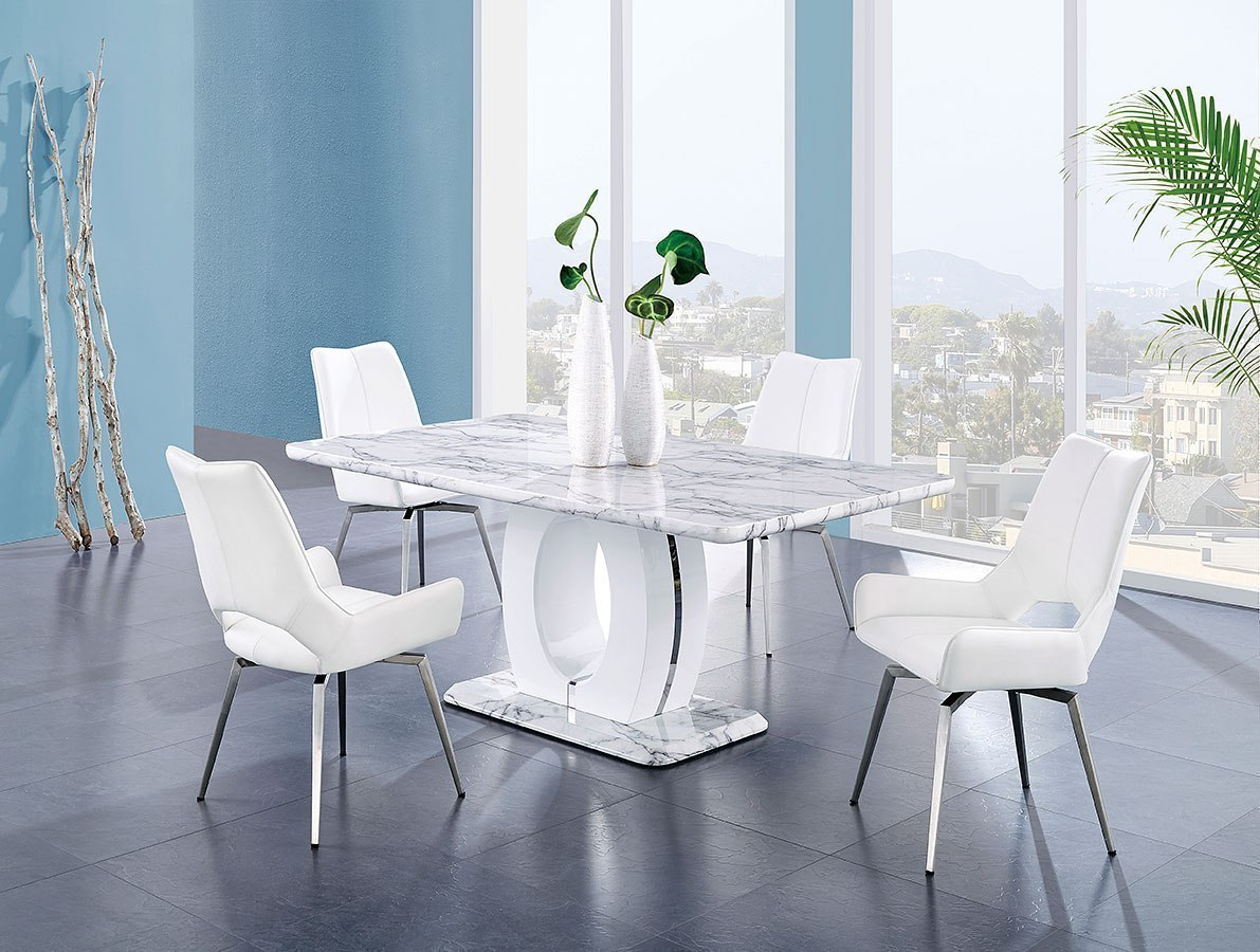 white chairs dining room | D894 Dining Room Set w/ White Swivel Chairs by Global ...