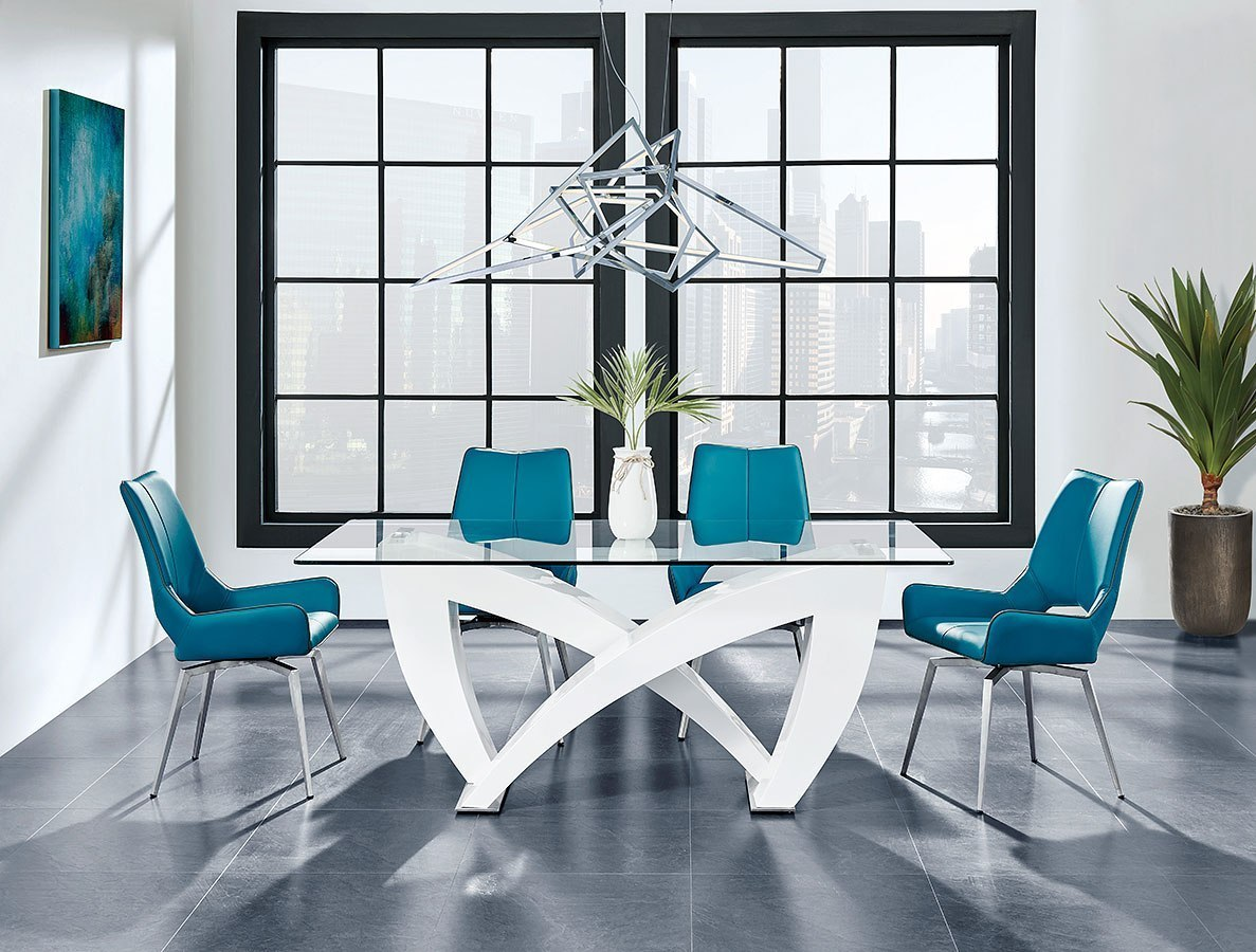 D9913 Dining Room Set W Turquoise Chairs By Global