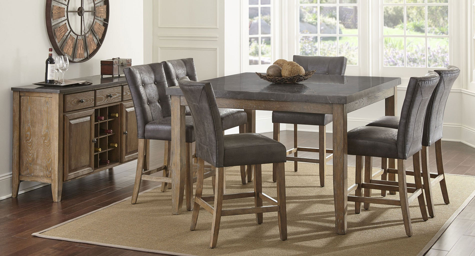 Debby Counter Height Dining Set W/ Grey Chairs