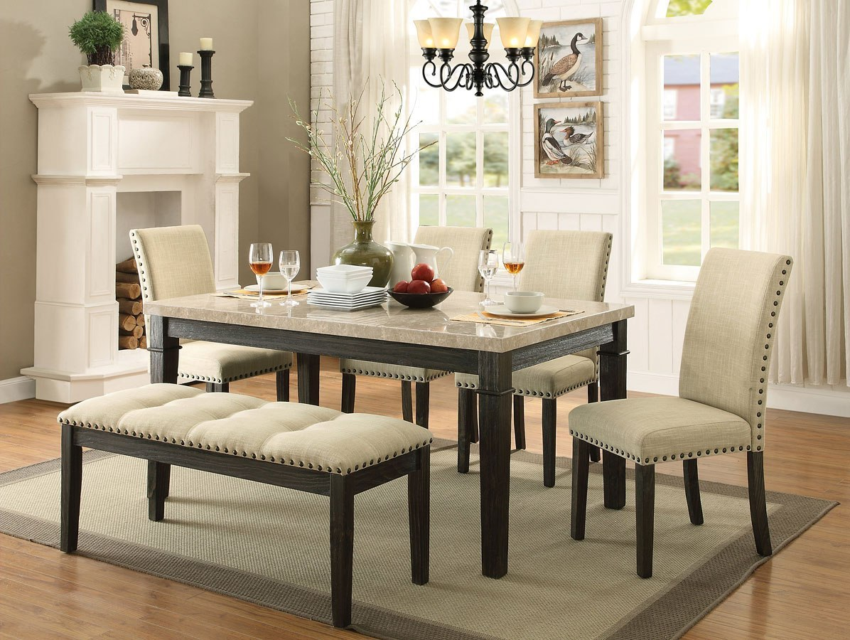 Greystone Dining Room Set W Upholstered Chairs And Bench