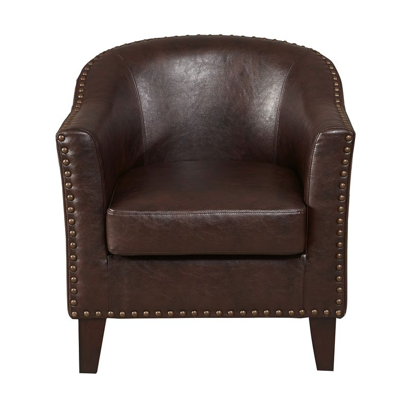 Brown Faux Leather Barrel Accent Chair By Pulaski