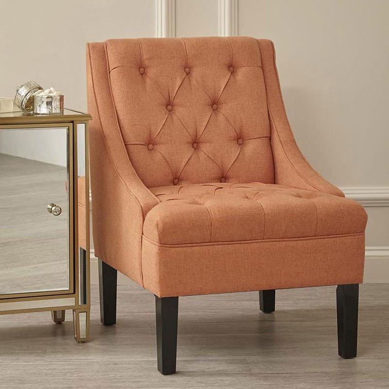 Button Tufted Chair (Salmon)