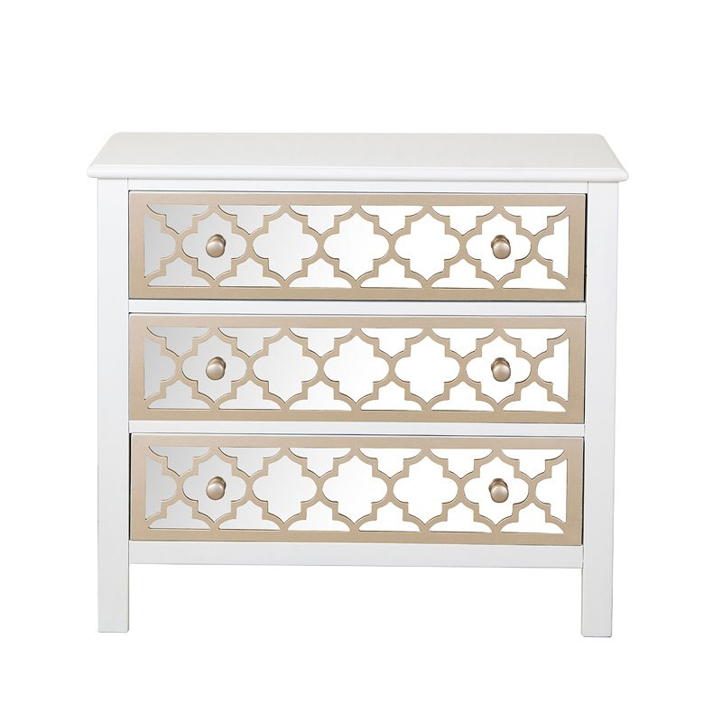 Mirrored Overlay White Accent Chest