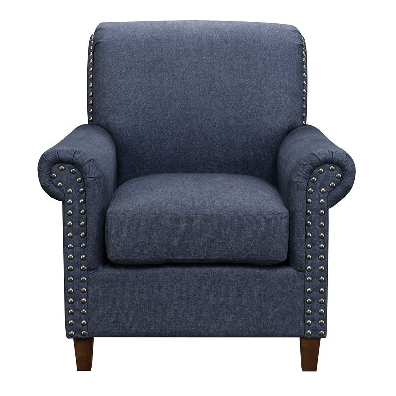 Denim upholstered roll arm accent chair accent chairs - Upholstered living room chairs sale ...