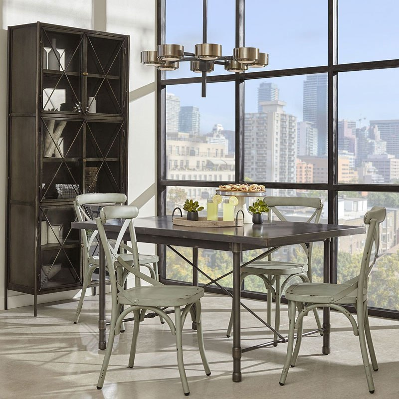 metal dining room sets | Industrial Metal Top Dining Room Set w/ Blue Chairs by ...